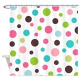 White and Colorful polka dots shower curtain from Cafepress