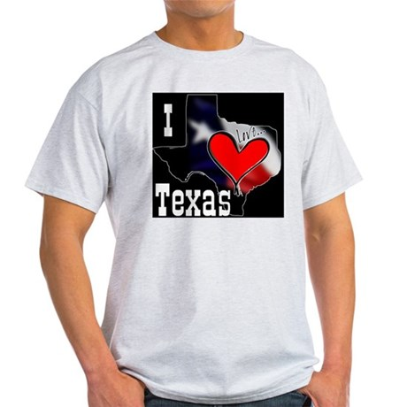 I Love Texas Ash Grey T-Shirt