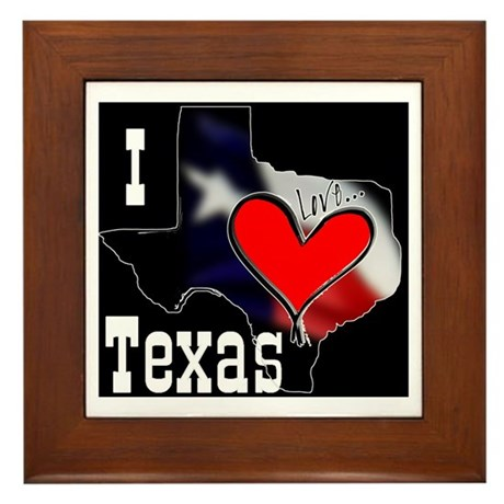 I Love Texas Framed Tile