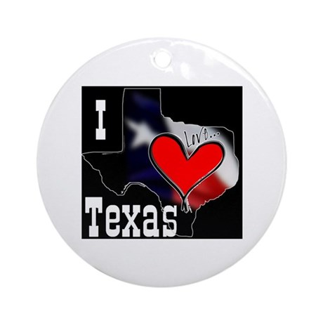 I Love Texas Ornament (Round)