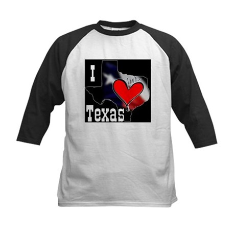 I Love Texas Kids Baseball Jersey