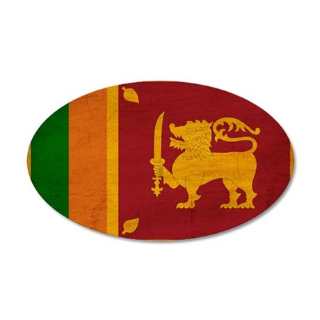 Sri Lanka Flag 22x14 Oval Wall Peel