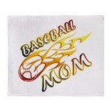 Baseball Mom (flame) Throw Blanket