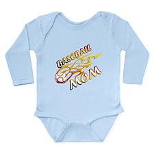 Baseball Mom (flame) Long Sleeve Infant Bodysuit