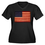 United States Flag Women's Plus Size V-Neck Dark T