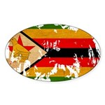 Zimbabwe Flag Sticker (Oval)