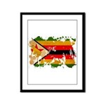Zimbabwe Flag Framed Panel Print