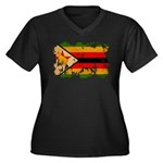 Zimbabwe Flag Women's Plus Size V-Neck Dark T-Shir