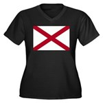 Alabama Flag Women's Plus Size V-Neck Dark T-Shirt