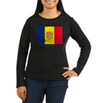 Andorra Flag Women's Long Sleeve Dark T-Shirt