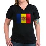 Andorra Flag Women's V-Neck Dark T-Shirt