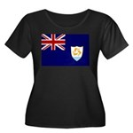 Anguilla Flag Women's Plus Size Scoop Neck Dark T-