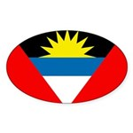Antigua and Barbuda Flag Sticker (Oval 10 pk)