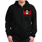 Antigua and Barbuda Flag Zip Hoodie (dark)