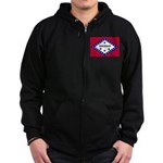 Arkansas Flag Zip Hoodie (dark)
