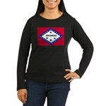 Arkansas Flag Women's Long Sleeve Dark T-Shirt