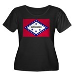 Arkansas Flag Women's Plus Size Scoop Neck Dark T-