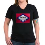 Arkansas Flag Women's V-Neck Dark T-Shirt
