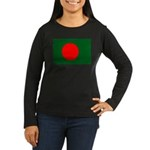 Bangladesh Flag Women's Long Sleeve Dark T-Shirt