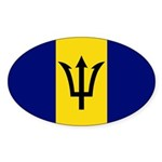 Barbados Flag Sticker (Oval 50 pk)