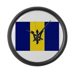 Barbados Flag Large Wall Clock