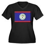 Belize Flag Women's Plus Size V-Neck Dark T-Shirt