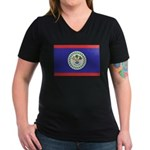 Belize Flag Women's V-Neck Dark T-Shirt