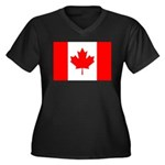 Canada Flag Women's Plus Size V-Neck Dark T-Shirt