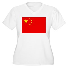 China Flag Women's Plus Size V-Neck T-Shirt