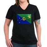 Christmas Island Flag Women's V-Neck Dark T-Shirt