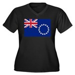 Cook Islands Flag Women's Plus Size V-Neck Dark T-