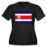 Costa Rica Flag Women's Plus Size V-Neck Dark T-Sh
