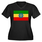 Ethiopia Flag Women's Plus Size V-Neck Dark T-Shir