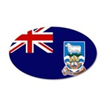 Falkland Islands Flag 22x14 Oval Wall Peel