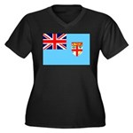 Fiji Flag Women's Plus Size V-Neck Dark T-Shirt