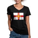 Guernsey Flag Women's V-Neck Dark T-Shirt