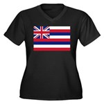 Hawaii Flag Women's Plus Size V-Neck Dark T-Shirt