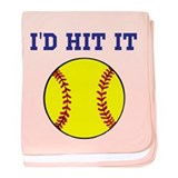 I'd Hit it softball baby blanket