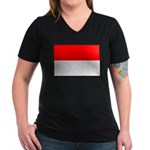 Indonesia Flag Women's V-Neck Dark T-Shirt