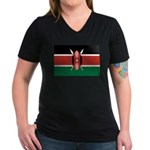 Kenya Flag Women's V-Neck Dark T-Shirt