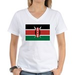 Kenya Flag Women's V-Neck T-Shirt
