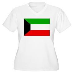 Kuwait Flag Women's Plus Size V-Neck T-Shirt