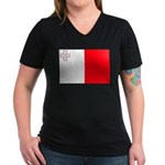 Malta Flag Women's V-Neck Dark T-Shirt