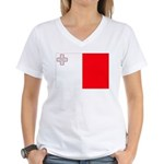 Malta Flag Women's V-Neck T-Shirt