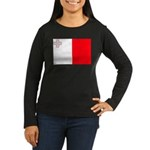 Malta Flag Women's Long Sleeve Dark T-Shirt