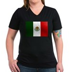 Mexico Flag Women's V-Neck Dark T-Shirt