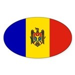 Moldova Flag Sticker (Oval 50 pk)
