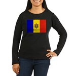 Moldova Flag Women's Long Sleeve Dark T-Shirt