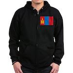 Mongolia Flag Zip Hoodie (dark)