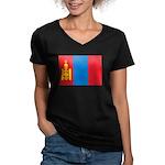 Mongolia Flag Women's V-Neck Dark T-Shirt